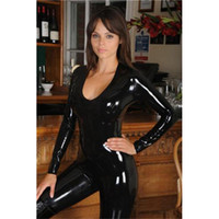 Wholesale 2014 Metalic Sexy Women Catsuits Front Zipper One Piece Women Jumpsuit High Quality Leather Women Catsuits LKH1046