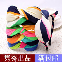 dollar store - Korean version of the hot summer hair accessories hair bands large striped fabric bow headband dollar store shelf C43