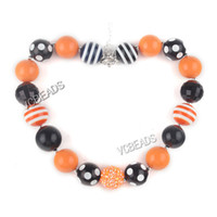 Wholesale 46cm Halloween Necklace Chunky Necklace Kids Jewelry Black Orange Colors Jewelry Making Halloween Party Jewelry Decoration
