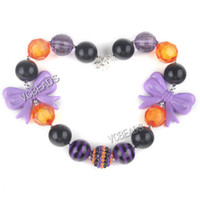 Wholesale 42cm Halloween Chunky Necklace Bead Necklace Purple Butterfly Necklace Pendant Jewelry Making Kids Jewelry Halloween Gift