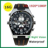 Wholesale HD P Watch Camera IR Night Vision Spy Wrist Watch Camera Leather Wristwatch for James Bond GB GB Q