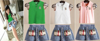 jean skirts - 2014 Summer New Children Girls Fashion Hot Sell Skirt Suits Jean Cowboy Set Princess T Shirt Clothing Kids Sets White Green Pink E0404