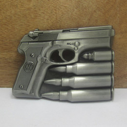 BuckleHome hand gun belt buckle with pewter finish FP-03444 with continous stock free shipping