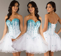 Wholesale 2015 Short Prom Dress Classic Designer Corset Crystals Ball Gowns Sweetheart White Sequins Short Graduation Dresses Evening Homecoming dres