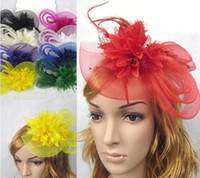 Wholesale Best Selling Wedding Bride Ornaments Ladies Party Hair Accessories Feather and flower Fascinator Hat With Black Headband M0541