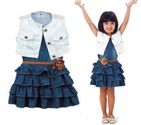denim waistcoat - Summer Children Girls Clothing Suit Tank Pleated Denim Dress Flower Belt Beading Waistcoat Dressy Set Kids Casaul Clothes Set M0542