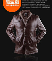 Wholesale 2015 NEW MEN Autumn and winter style Leather garment Casual coat Collar coat