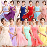Wholesale 2015 bridesmaid dresses cheap yellow Royal blue purple dress strap knee length high waist chiffon party dresses color size
