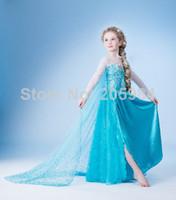 Cheap Girl Frozen Mesh Dress Best Cartoon Star Cotton Blends Elsa Gauze Cloak Dresses