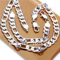 Wholesale NEW arrival sets Men s sterling Silver Figaro Chains Necklace amp Bracelet set mm Hot Sale