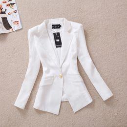 Wholesale 2014 Korean Slim gold buckle small suit autumn coat OL leisure suit female Black White Suit Outerwear