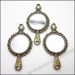 Wholesale B Vintage Charms Mirror frame Pendant Antique bronze Fit Bracelets Necklace DIY Metal Jewelry Making