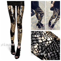 Wholesale European Punk Gothic Snake Splash Ink Gradient Plus Size Women s Clothing Leggings Leather Pants Apparel amp Accessories BB002