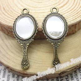 Wholesale 20 Vintage Charms Mirror Pendant Antique bronze Fit Bracelets Necklace DIY Metal Jewelry Making