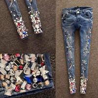 Wholesale 2014 HOT New Arrival High Fashion Women s Dimensional Gem Jeans ladies Metal Decoration Pants Rhinestones Designer Capris Women s Pants