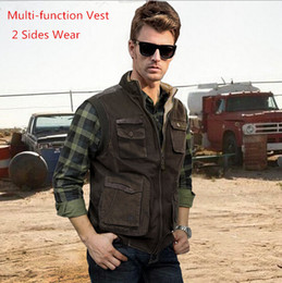 Wholesale 2014 Military Style Man s Brand Vest Two Sides Wear Men s Multi pocket Vest Big Size XL Cotton Waistcoat Men