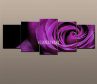 Oil Painting Abstract Unframed Wholesale - 5 Panel Wall Art Canvas Fine Art Pure hand-painted Picutres Large Cheap Purple Rose Oil Painting On Canvas For Home Decoration F