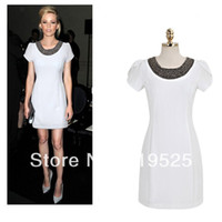 Straight Puff Sleeve Knee-Length New Spring Summer 2014 Fashion Women Short Sleeve Sexy Dresses Beading O-Neck Gowns For Women Clothing DD021