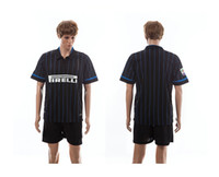 Soccer home kit - 2014 Season Inter Milan Home Black Stripe Jersey Short Set Mens Soccer Kits Football Sportswear able custom name number mix any size