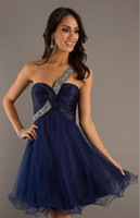Reference Images Organza One-Shoulder 2014 Inexpensive Homecoming Dresses Under 50 One Shoulder Sleeveless Short Prom Dress A Line Pleat Beads OrganzaHigh Quality 100% Custom