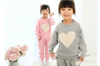 Wholesale 2014 New Fashion Children kids Girl Casual Clothes Set Full sleeve Coat Pants trousers Set Heart Print Design