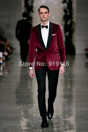 2016 custom made Bridegroom Velvet Burgundy Shawl lapel wedding tuxedo Groom Wear 3 peices suits set(jacket+Pants+bowtie)CM-7271 Groom wear