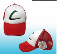 Wholesale New Poke Ash Ketchum Trainer Hat Costume Cap Adult Mesh hat caps