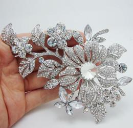 Wholesale - Vintage Style Flower Leaf Bridesmaid Brooch Pin Rhinestone Crystal Wedding Free Shipping For Woman