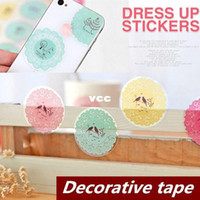 Wholesale 24 Lace Dress up stickers Decorative tape seal up for envelope Adhesive tape sticky Stationery School supplies