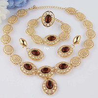 Wholesale New k Yellow Gold Filled Champagne Topaz Necklace Bracelet Earring Ring Jewelry Set