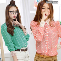 Lantern Sleeve Regular Rayon ZANZEA Sweet Women's Chiffon Polka Dots Lace Button Lapel Tops Shirts Blouse Pink Green Fit S-XXL Size1BL0188