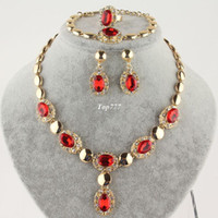 Wholesale New Fashion k Yellow Gold Filled Clear Austrian Crystal Red Ruby Garnet Necklace Bracelet Earring Ring Jewelry Set