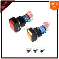 push switch xp6f-11d orange cheaper sale for DC 24V Red Light 5P Momentary Panel Mount Squared Push Button Switches 16mm Mounting Hole