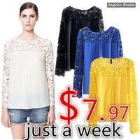 V-Neck Regular Acetate White Blue pink Yellow Women Lace Sleeve XXL Chiffion Blouses Tops Emboriey Gorgeous long Sleeve Shirt