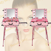 Wholesale Beautiful Pink color Aluminum makeup station with light bulb mirror trolley and legs cosmetic train trolley case
