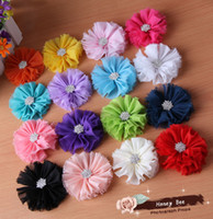 Wholesale 100pcs quot Shabby Chiffon Flowers Trim With Starburst Button Center DIY Photo Props For Baby Headbands Hair Flowers