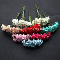 Wholesale cm paper Flower Scrapbooking artificial Flower Mini Rose wedding corsage