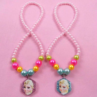 Wholesale 2014 New Frozen Princess Anna Elsa Pearl Rainbow Glitter Sparkling Necklace Lovely Fashion Kids Jewelry Accessories Birthday Present A075