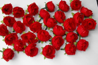 Wedding silk flower heads - 100 Red Silk flower head rose wedding decoration