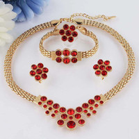 Wholesale New k Yellow Gold Filled Red Ruby Garnet Necklace Bracelet Earring Ring Jewelry Set
