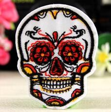 Wholesales 10 Pieces White Colorful Zombie Skull Iron On Patch (4cm x 5 cm) Embroidered Applique Punk Patch (ALG)