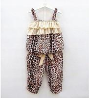Girl Summer  New Arrival Hot selling Children Summer Cool Leopard clothes suit baby girls Leopard Sling vest+ pants children Sleeveless strap 2 pcs Set