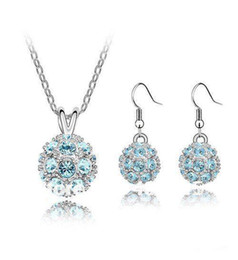 fashion ball shaped crystal gold jewellery set,rhinestone silver jewellery set necklace and earrings