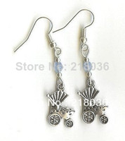 Couple Rings Women's Drop Earrings Wholesale Fashion 50Pair Antiques Silver Baby Stroller Charm Dangle Earrings 925 For Women With Gift Box DIY Jewelry M2858