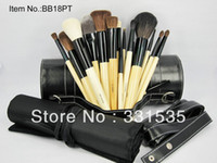 10000 Nylon Wood Wholesale-MN-1set high quality 18piece Professional brand Makeup Brush sets + black Hard boxed, , beauty tools free shipping