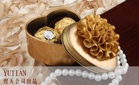 Wholesale Korean style mmx65mmx32mm Heart shaped tin candy box with lotus flower Christmas gift Chocolate Candy Tin Boxes color to choose