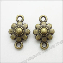 Wholesale 100pcs Vintage Charms Flower frame Pendant Antique bronze Fit Bracelets Necklace DIY Metal Jewelry Making