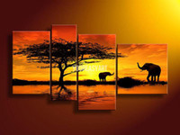 Wholesale Piece Wall Art African Abstract Orange Elephants Oil Painting On Canvas Paint Decorative Interior Paneling Pure hand painteds