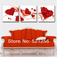 Oil Painting Yes Canvas Wholesale - Hot Sell Modern Wall Painting Love Rose Heart Home Decorative Art Picture Paint on Canvas Pure hand-painteds BLAP143