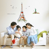 Wholesale 1 Piece Tower And Statue of Liberty Wall Sticker Room Removable Oil Painting Tower Wall Poster X1461